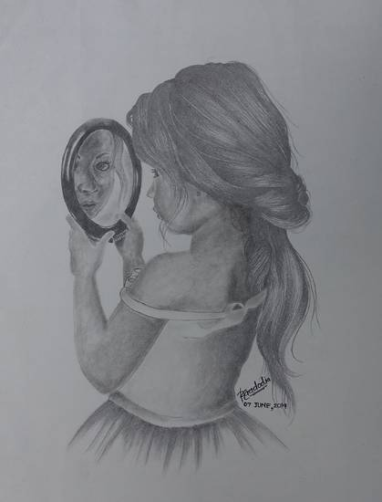 Painting  by Riddhi Gadodia - The girl with the mirror