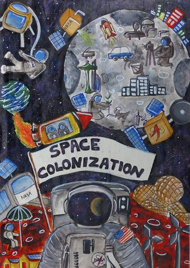 Painting  by Nishtha Sharma - Space Colonization