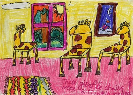 Painting  by Aanya Sehgal - Giraffe Chairs