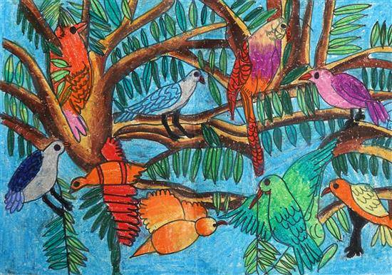 Painting  by Kaavya Maheshwari - Colorful birds