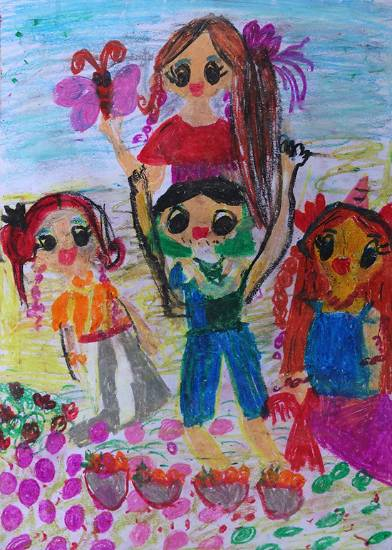 Painting  by Neily Aanya Hollupathirage - My family picnic