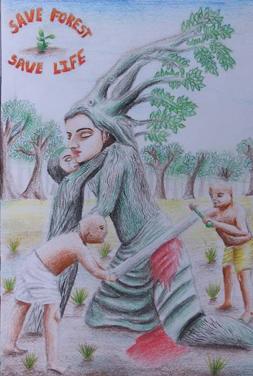 Painting  by Viraj Tasare - Save Forest. Save Life