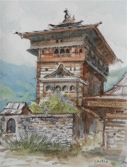 Kamroo Fort, Himachal , painting by Chitra Vaidya
