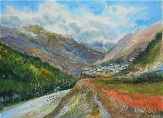 Into the Mountains - 2 , painting by Chitra Vaidya