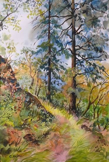 Forest Walk , painting by Chitra Vaidya