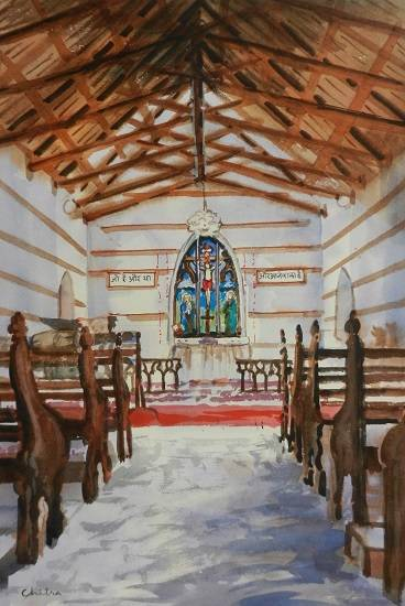 Church in Himachal, painting by Chitra Vaidya