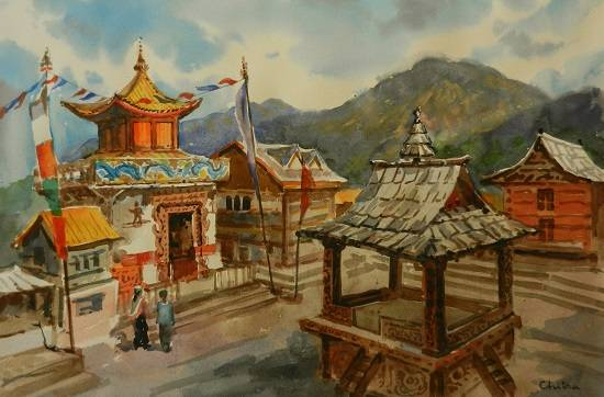 Temple in Himachal , painting by Chitra Vaidya
