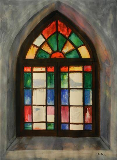 Stained Glass Window, St Mary's Church, Himachal , painting by Chitra Vaidya