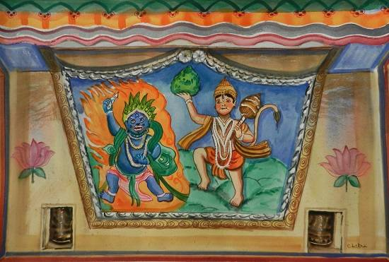 Mural on Temple Wall, Himachal, painting by Chitra Vaidya