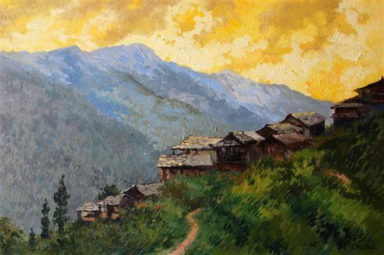 Sojha Village, Himachal , painting by Chitra Vaidya