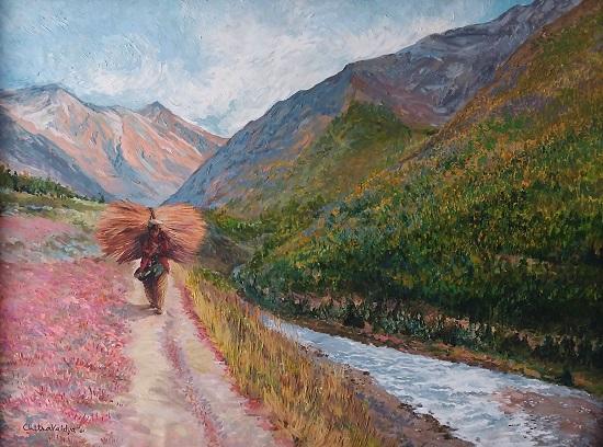 Homeward Bound, painting by Chitra Vaidya