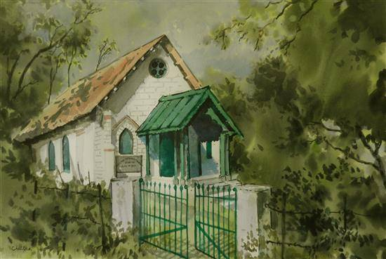 Church in Himachal , painting by Chitra Vaidya