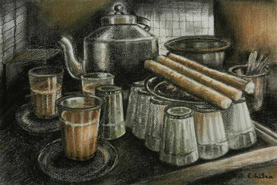 At a Chai shop in Himachal , painting by Chitra Vaidya