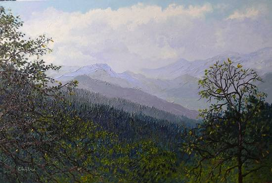 View of Mountain Ranges in Himachal , painting by Chitra Vaidya