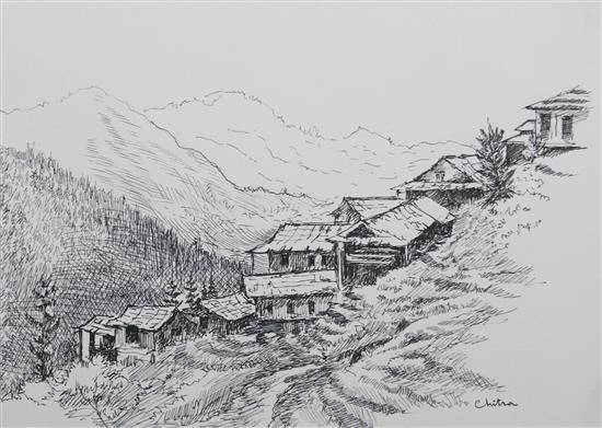 Village on a Mountain Slope , painting by Chitra Vaidya
