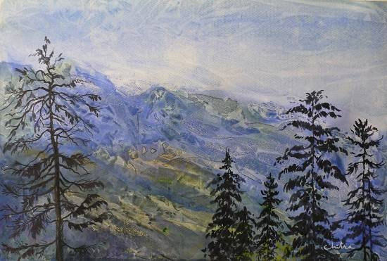 Mountains in Himachal, painting by Chitra Vaidya
