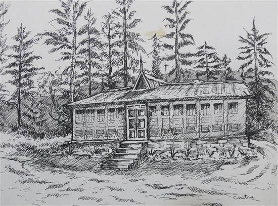 Forest Rest House in Himachal , painting by Chitra Vaidya