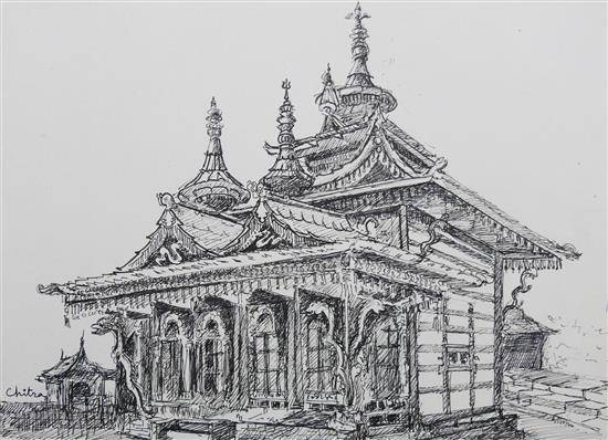 Badri Narayan Temple, Himachal, painting by Chitra Vaidya