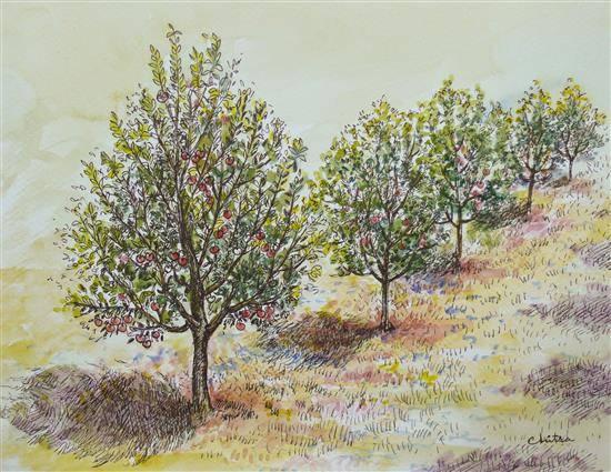 Apple Trees, painting by Chitra Vaidya