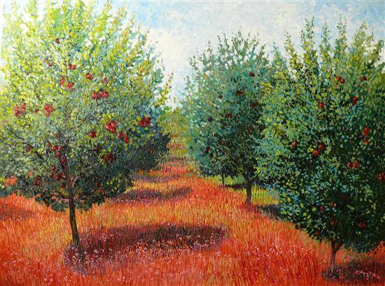 Apple Orchard , painting by Chitra Vaidya