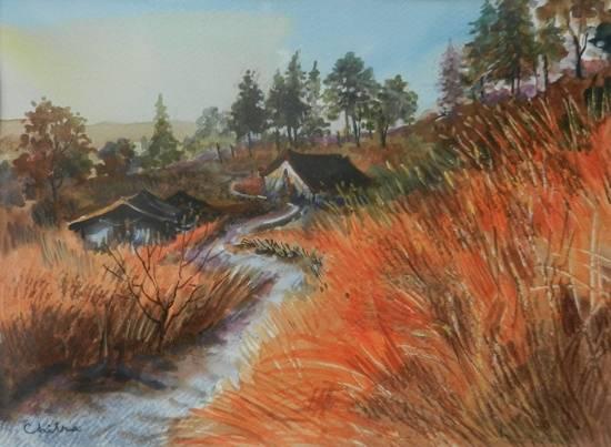 Golden Grass, Kumaon - 2 , painting by Chitra Vaidya
