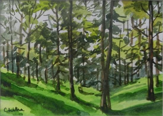 Kumaon Landscape - 22 , painting by Chitra Vaidya