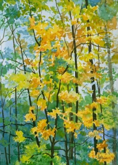 Kumaon Landscape - 7 , painting by Chitra Vaidya