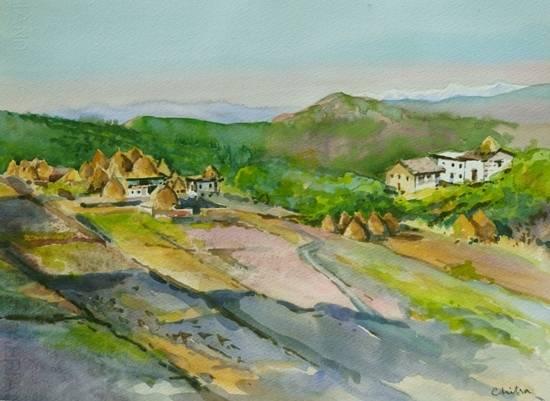 Kumaon Landscape - 2 , painting by Chitra Vaidya