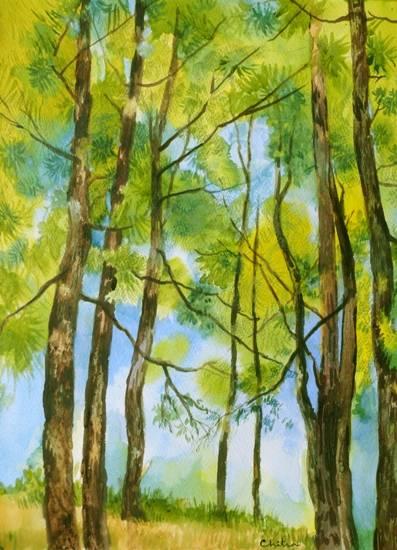 Kumaon Landscape - 8 , painting by Chitra Vaidya