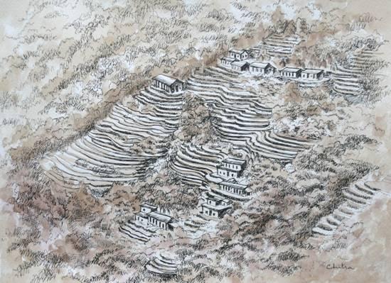 Kumaon Landscape - 27 , painting by Chitra Vaidya