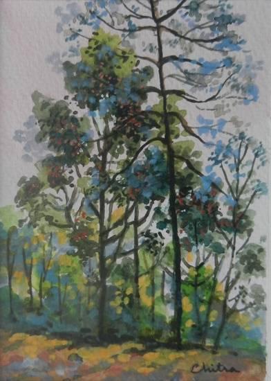 Kumaon Landscape - 13 , painting by Chitra Vaidya