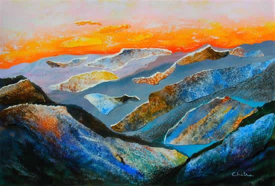 Kumaon Mountains - 1, painting by Chitra Vaidya