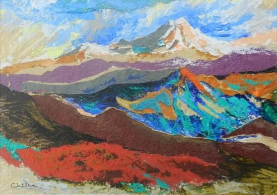 Kumaon Mountains - 4, painting by Chitra Vaidya