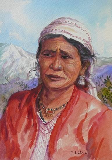 Kumaoni Woman - 2, painting by Chitra Vaidya