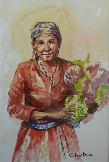 Kumaoni Woman - 1, painting by Chitra Vaidya