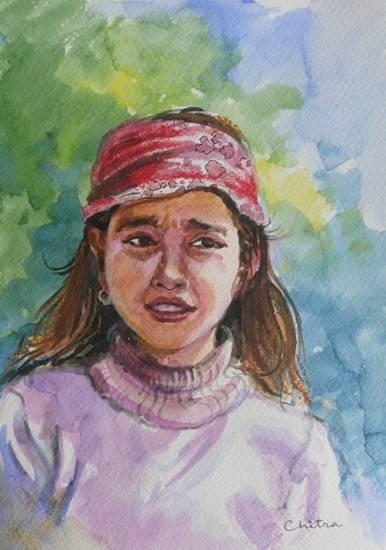 Kumaoni Girl, painting by Chitra Vaidya