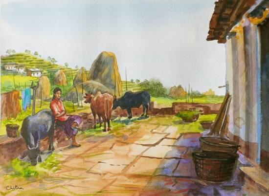 Rural Life in Kumaon - 3 , painting by Chitra Vaidya