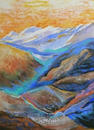 Call of the Himalayas - 1, painting by Chitra Vaidya