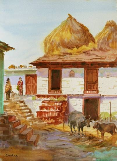 Rural Life in Kumaon - 1, painting by Chitra Vaidya
