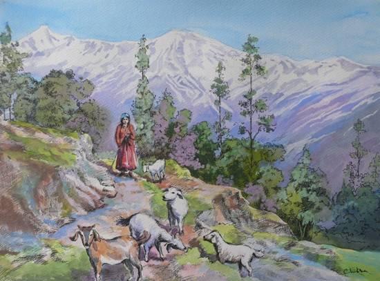 Rural Life in Kumaon - 2Rural Life in Kumaon - 2, painting by Chitra Vaidya