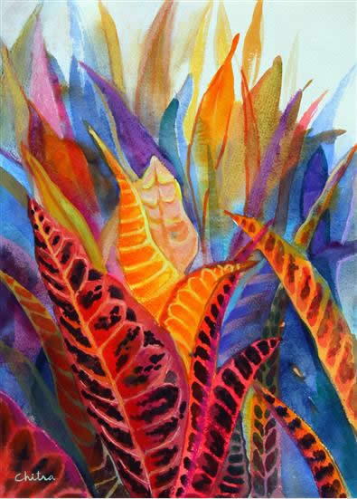 Light through Leaves , painting by Chitra Vaidya