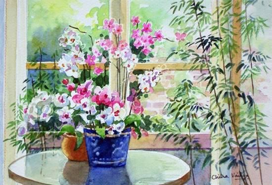 Flowers II, painting by Chitra Vaidya