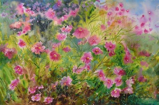 Pink Cosmos Flowers, painting by Chitra Vaidya