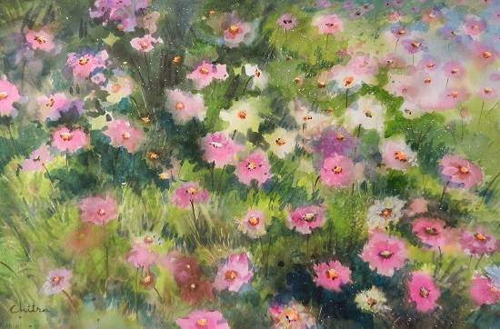 Cosmos Flowers - 2 , painting by Chitra Vaidya