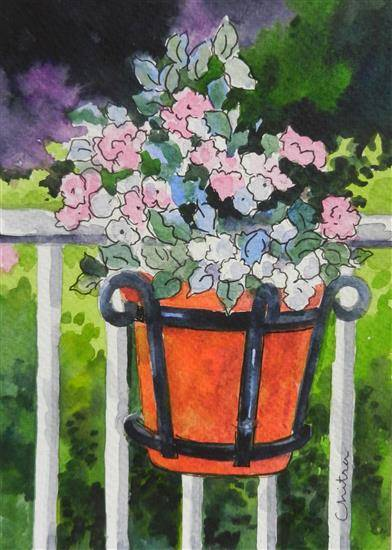 Flowers in a Pot, painting by Chitra Vaidya