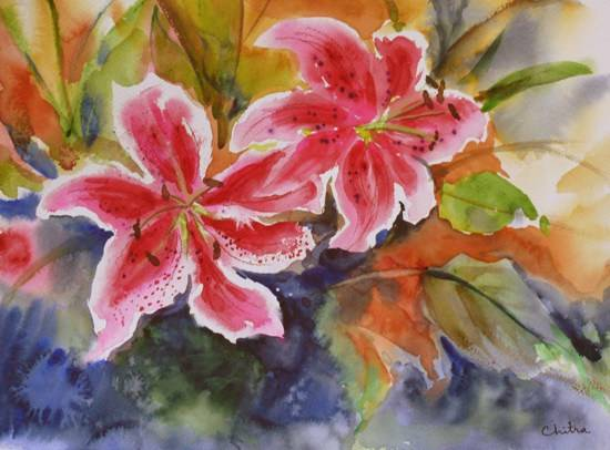 Red Lily Flowers, painting by Chitra Vaidya