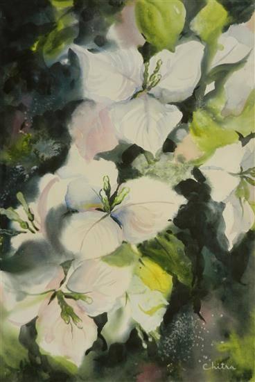White Flowers - 2, painting by Chitra Vaidya