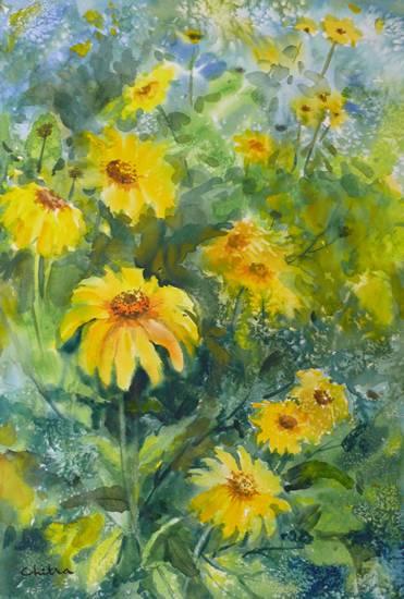 Yellow Flowers, painting by Chitra Vaidya