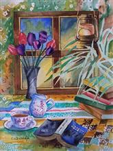 Study table and a flower vase, Painting by Chitra Vaidya