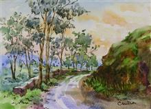 Painting by Chitra Vaidya - In the Hills XIX